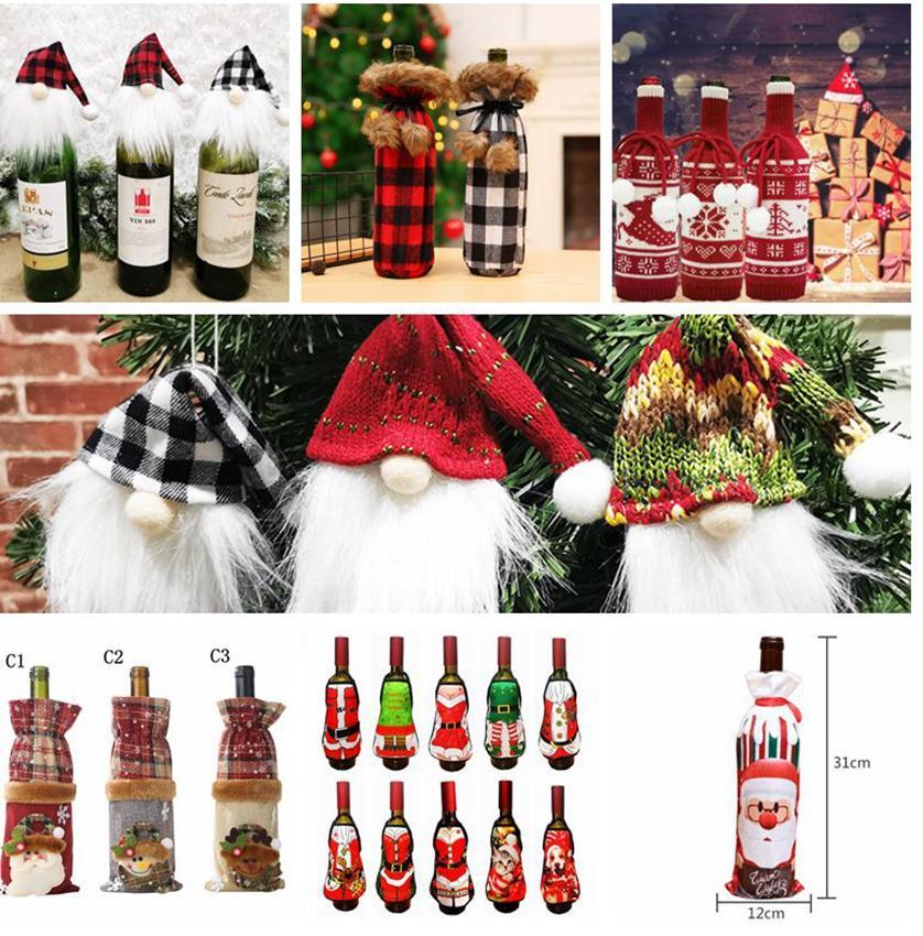 Bottiglia di vino rosso di Natale del sacchetto della copertura Xmas Party Dinner Table Decor bottiglia di vino da regalo maglione Xmas Party Decorazione LJJK2440