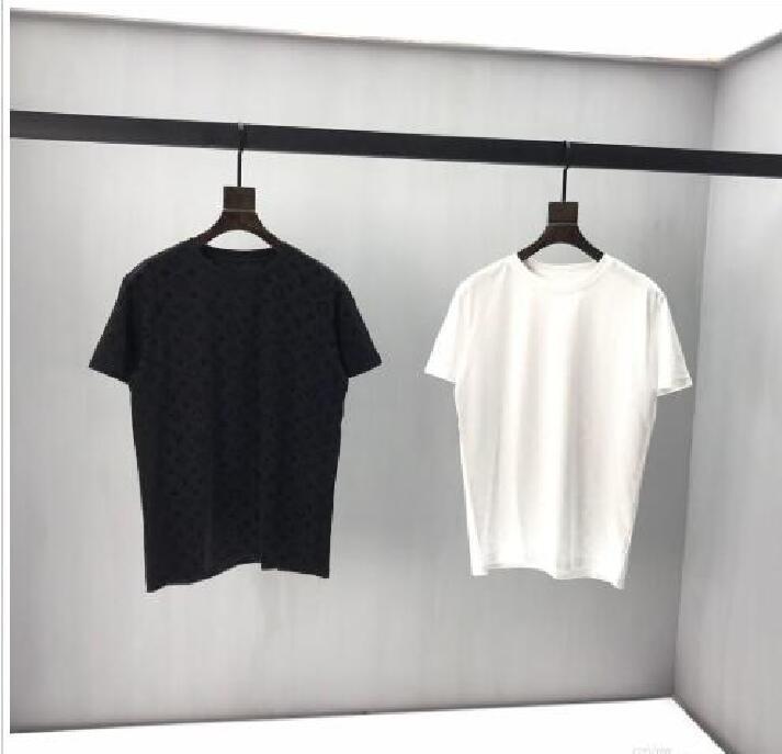Früher Frühling neues Farbblockbuchstaben-Logo Kurzarm T-Shirt Doppelstrang feiner Baumwollstoff schwarz und weiß