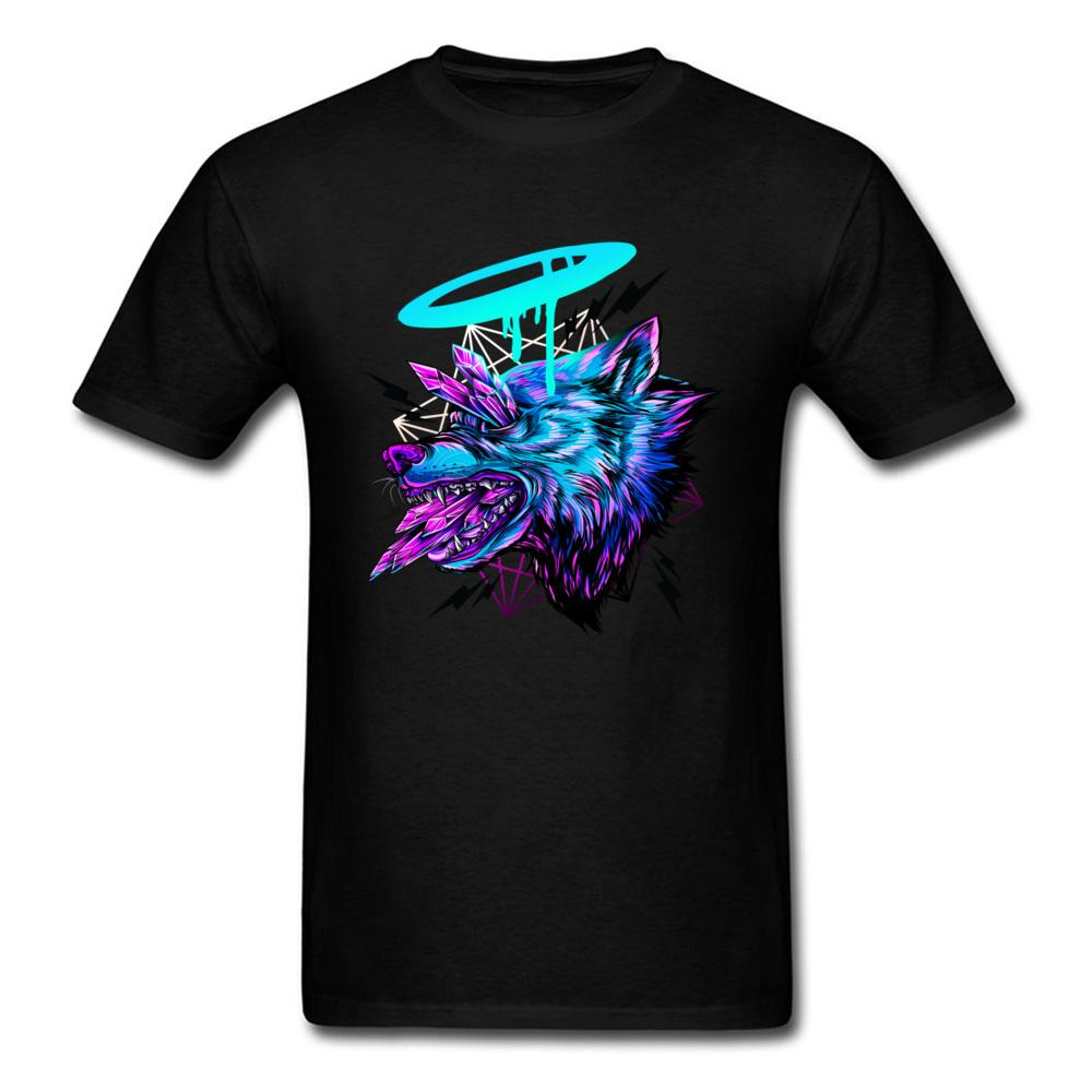 Printed Crystal Wolf T Shirts Funky Short Sleeve Funny Tops/Tees 100% Cotton Round Collar Men Tops T Shirt Thanksgiving Day