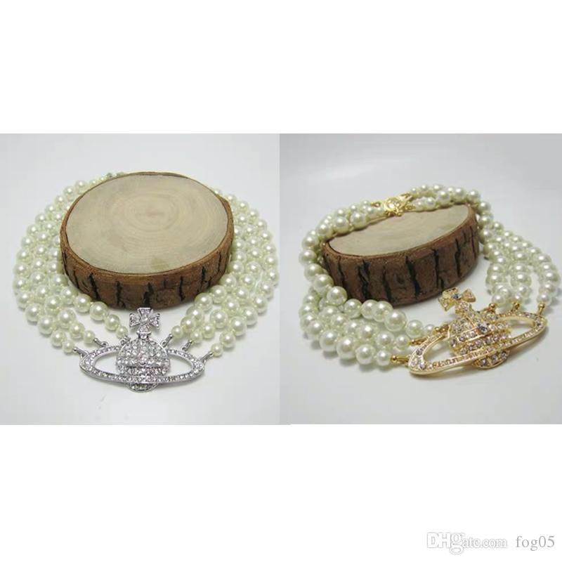 Collar collar de la mujer de la órbita del Rhinestone de calidad superior 3 capas cadena de la perla de la órbita con joyería y accesorios de moda sello