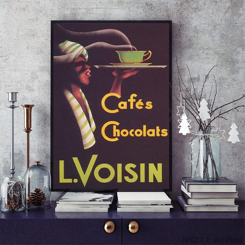 Cafes Chocolats Vintage Poster Print Coffee Advertisement Wall Art Canvas Painting Picture For Coffee Shop Decoration