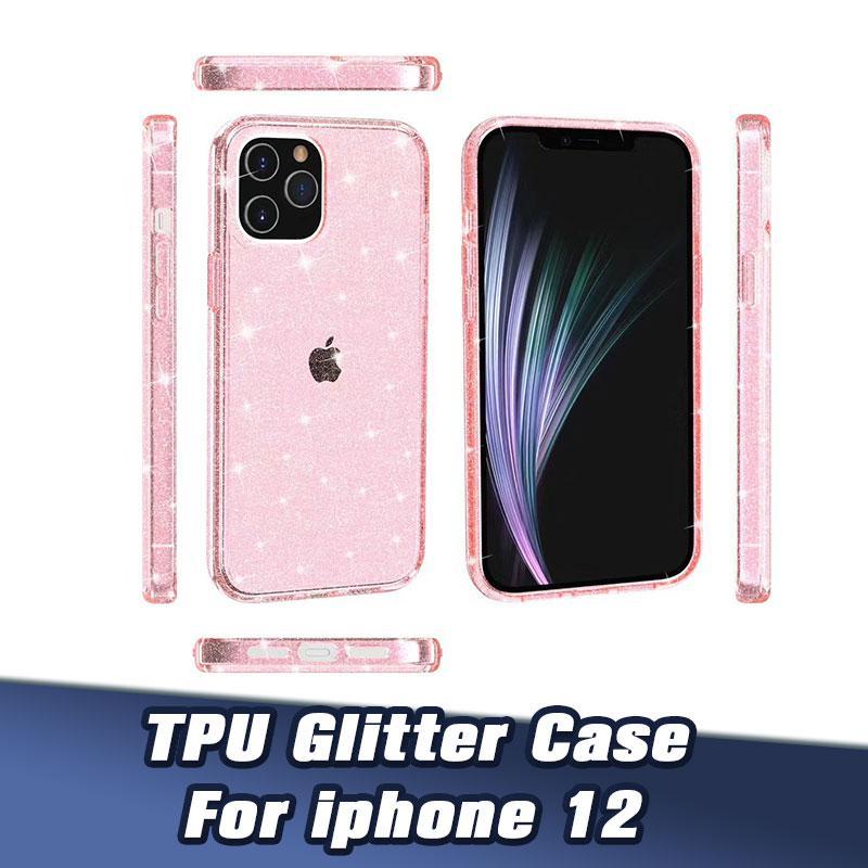 Pour New iPhone12 Effacer Glitter Téléphone Transparent souple Housse de protection pour iPhone Shell 11 ProMax 8P