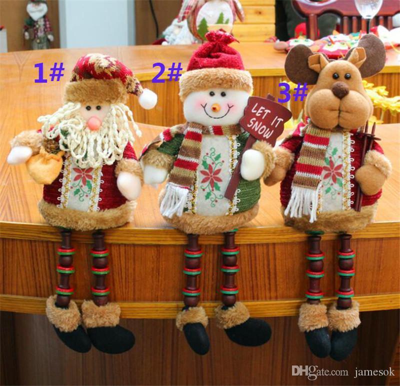 2019 New Design Christmas Decorations Sitting Father Christmas Santa Claus Snowman Figure Plush Toy Party Decorations dc840