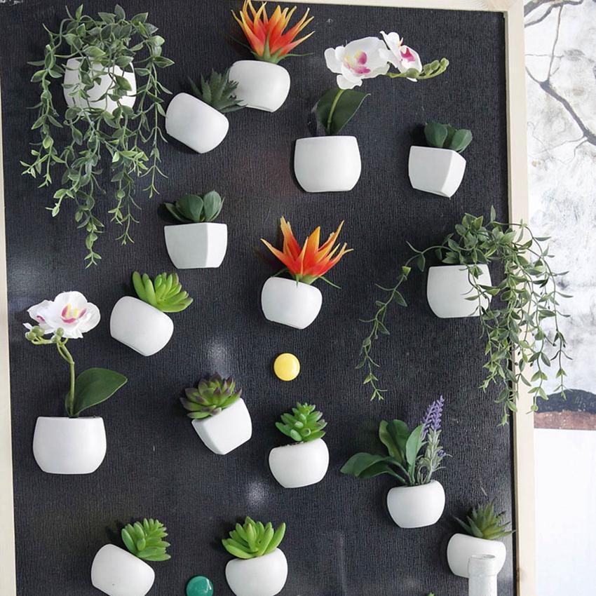 Simulato Bouquet Flower Frigo Adesivo Pianta grassa del magnete del frigorifero magnetico Pianta in vaso casa decorazione della parete OOA5858