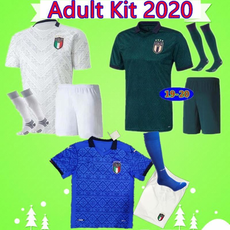 Kit adulte Maglie da Calcio Italie 2020 2021 Totti Insigne Home Blue Troisième Vert Supplément Blanc Hommes Suit Jerseys Soccer Jerseys Sets Shirts de football