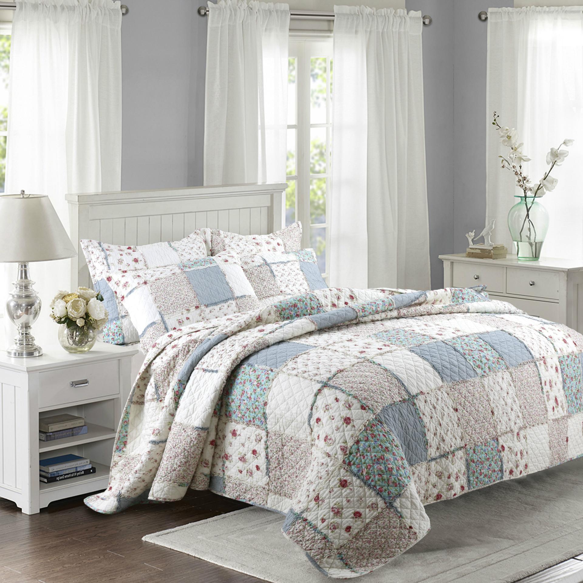 Rosa Blu americano Europa floreale copriletto impostato King Size cotone patchwork quilting Quilts Blanket Pastorale trapuntato copriletto Coperte