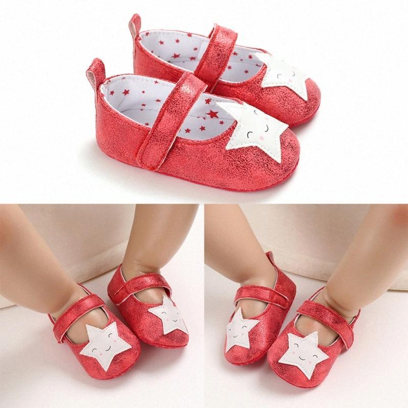 Bebek Kız Prenses Pullu Yıldız Deri Ayakkabı Yenidoğan Bebek Kız Çiçek Sneakers Bebek Pamuk Bow Günlük Ayakkabılar 0-18M Qthz #