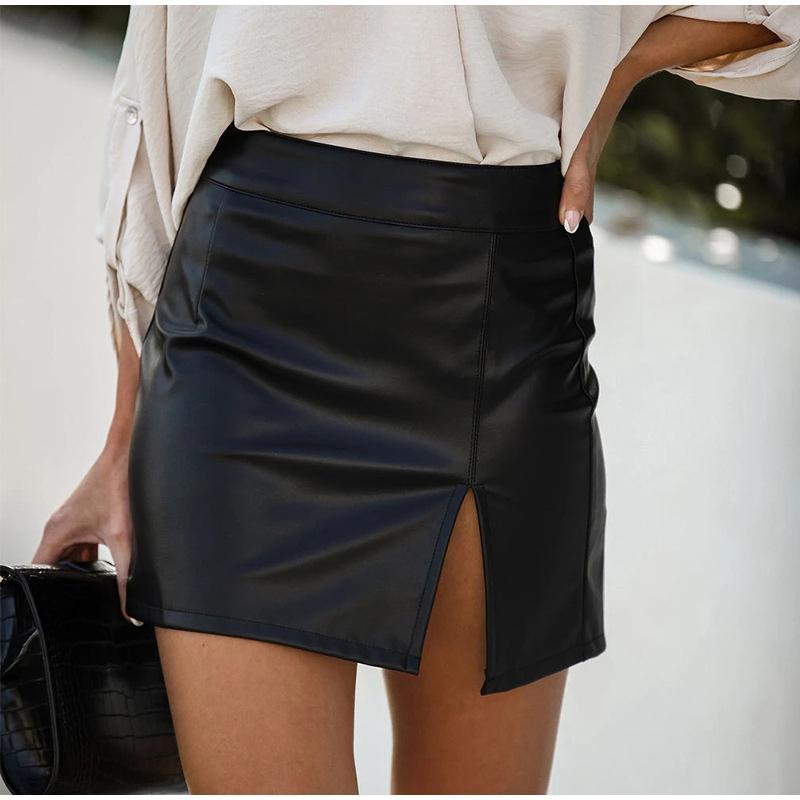 Verano flaco de consola de línea de las mujeres mini falda de cintura alta Diseño delgado de las faldas cortas Mujer 2020 Sexy Negro señoras de la manera Bottoms