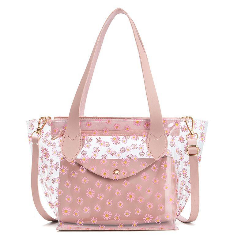 sacchetto della gelatina trasparente della borsa della donna spalla madre cellulare 2020 nuova borsa della spesa moda mare selvaggio semplice secchio di stampa
