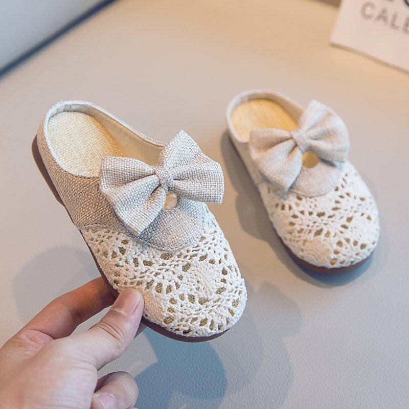 Shen CE Crianças Chinelos meninas 2020 Primavera japonesa New Kids Flock Bow antiderrapante casual e elegante Princesa Meninas Sandals