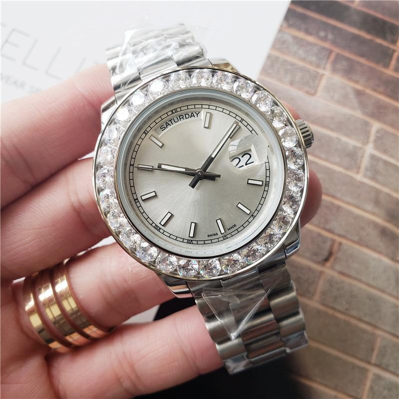 تاريخ أعلى جودة أزياء الرجال ووتش الكبير التسلق الماس مثلج خارج الساعات يوم الفولاذ المقاوم للصدأ الحركة التلقائية الميكانيكية ساعة اليد ساعة