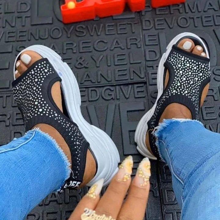 2020 été femme Sandales à bout ouvert respirante Wedges Plate-forme Chaussures pour femmes Chaussures légères sandales Big Taille Zapatos Mujer