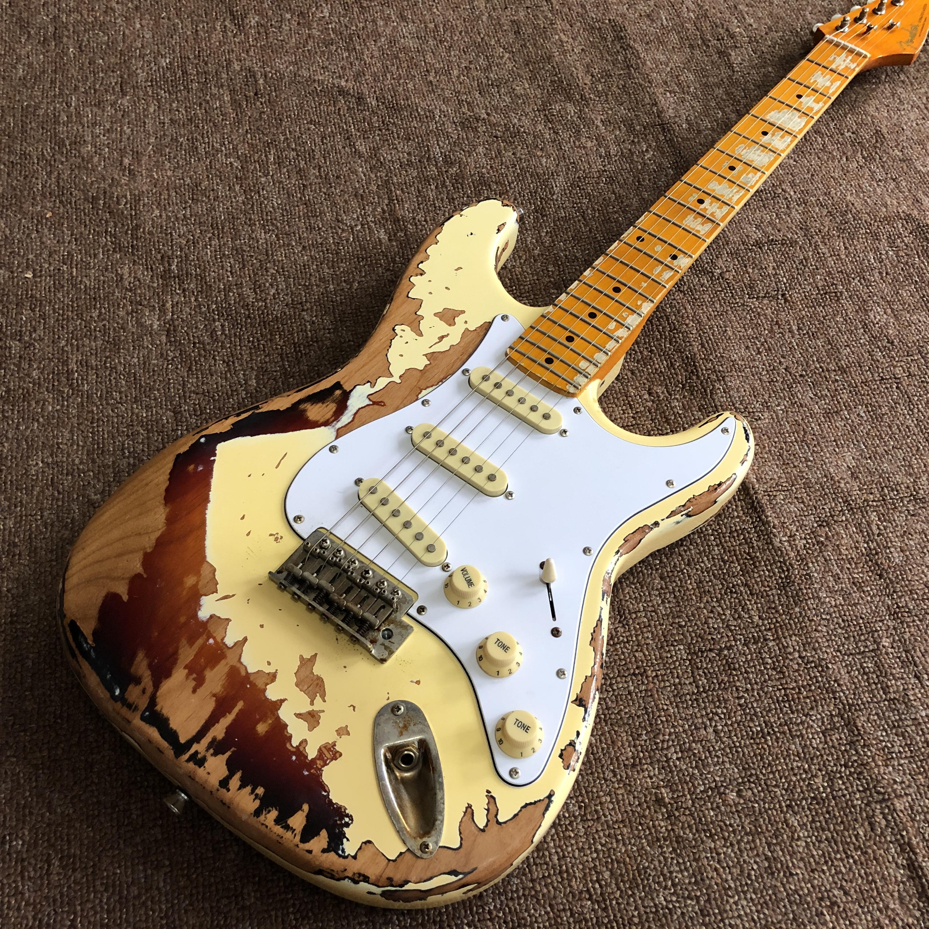 Masterbuilt John Cruz Rocher Monstre 1961 Pin-up Relic Blanc Plus de 3 Tone Sunburst Relic Guitare électrique
