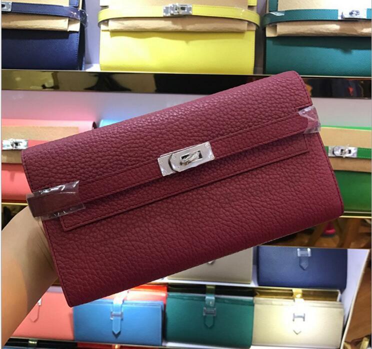 2020 marque Big détenteurs de longue carte Portefeuilles Porte-monnaie Sacs passeport avec la mode de verrouillage portefeuille en cuir vachette véritable 24 couleurs pour dame femme