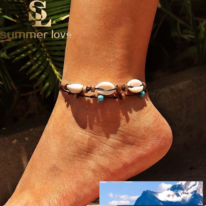 Bohemian Woven Shell-Wachs-Seil Fußkettchen für Frauen Art und Weise handgemachte Braid Holzperlen Fußkettchen Strand Fuß Schmuck Großhandel