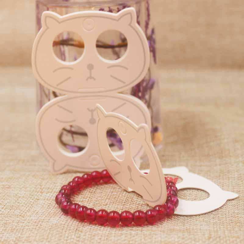 Zerong quality cat head jewelry card tag white paper necklace/pendant/fashion charms /hair ornaments folded tag cards200pc/lot