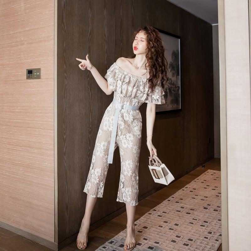 new arrival fashion summer lace jumpsuits women elegant sexy temperament simple off shoulder backless sexy jumpsuits