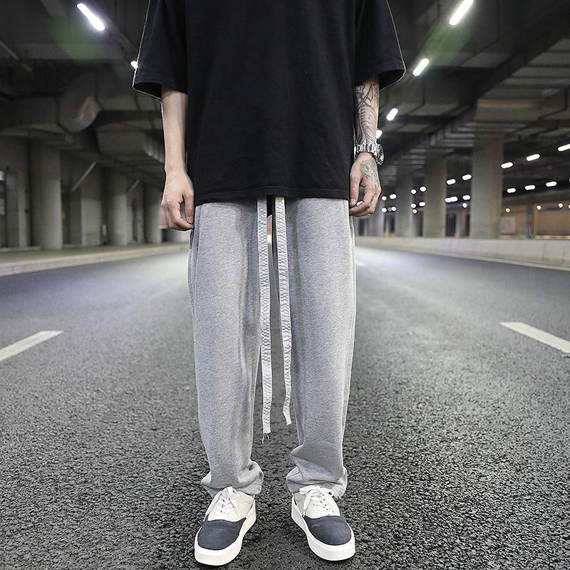 2020 Nova Primavera Men Chic cordão elástico Mid cintura High Street Calças retas Masculino treino sólido drapeado plissadas Calças W27