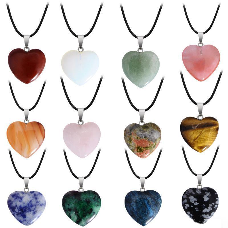 Collana di pietra naturale della pietra preziosa con la collana di cristallo di quarzo del turchese dei monili di fascino PU catena in pelle a forma di cuore per le donne gli uomini della ragazza