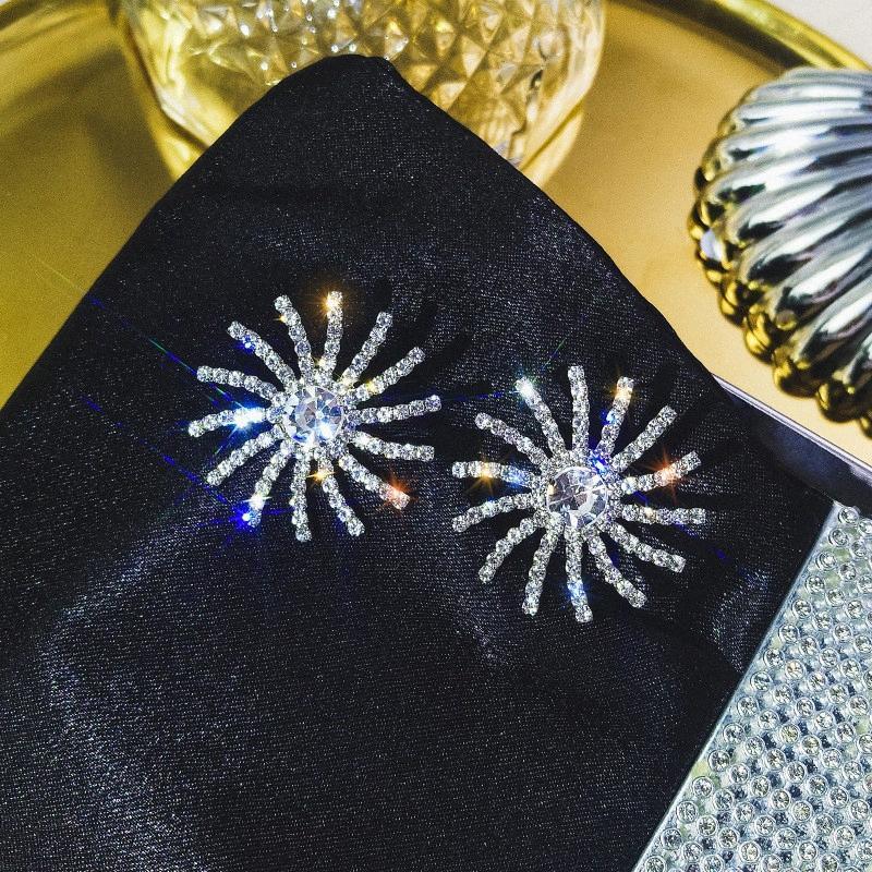 Pendientes FYUAN totalidad de Corea del Rhinestone Stud para regalos de la joyería de las nuevas mujeres de gran tamaño Bijoux Rotary Rueda de cristal Pendientes de la manera dRDI #