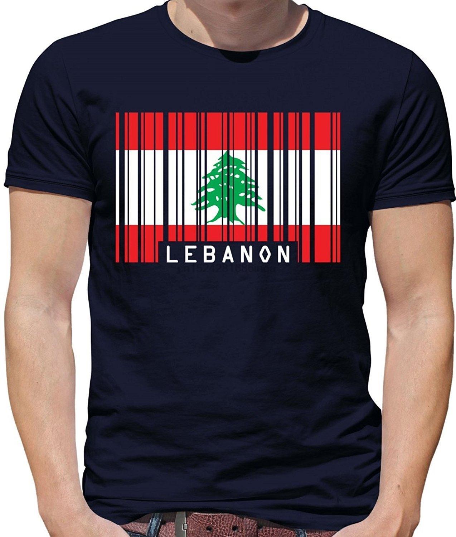 С коротким рукавом T-Shirt - 7 Мужские футболки Мода 2019 Ливан - Мужские Crewneck Цвета тенниска Barcode Стиль Flag