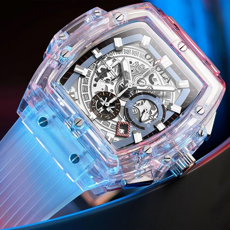 ONOLA designer de marca plástico Assista Homens 2019 casuais única de luxo Quartz relógio de pulso masculino quadrado branco transparente Esporte Men Watch