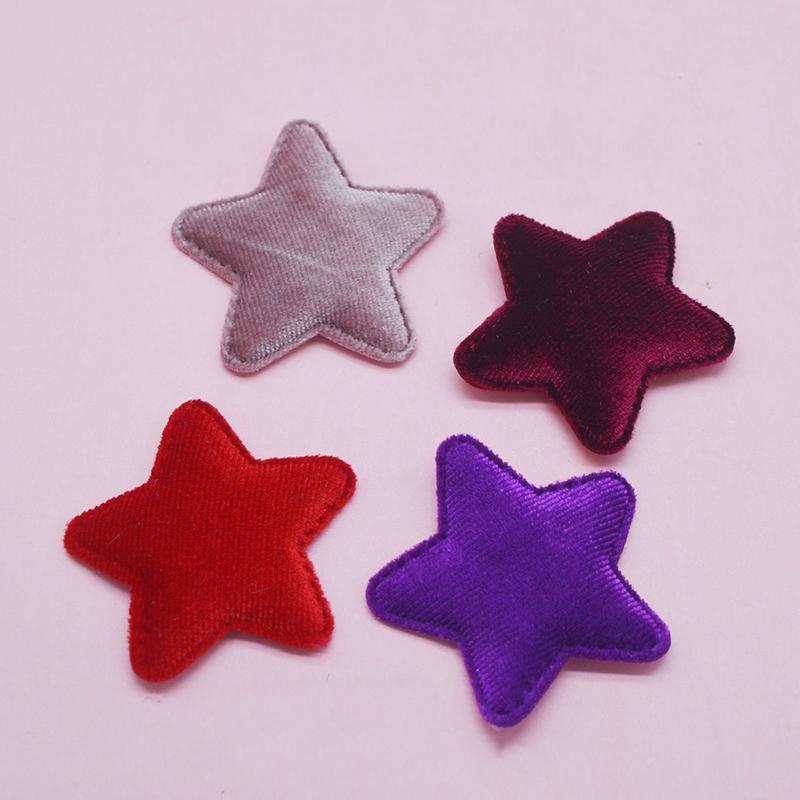 40pcs / lot 5cm couleurs Mix feutre Forme étoilée rembourré pour BB Accessoires Appliqués clip et bricolage patches enfants