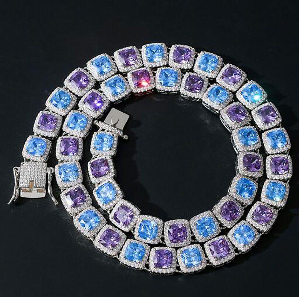 14K مطلية بالذهب الأبيض 10MM ساحة قص الأزرق الأرجواني روبي الماس تنس سلسلة قلادة تشيكوسلوفاكيا الأحجار الكريمة الماس الهيب هوب مجوهرات