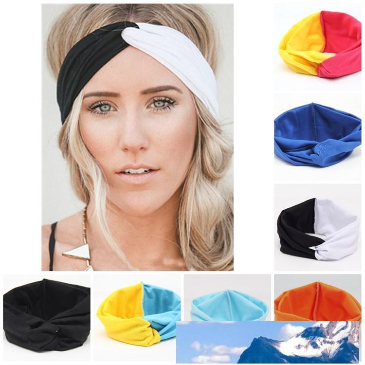 Sıcak Kızlar Stretch twist Kafa Patchwork Renk hairbands Spor Yoga Başkanı Wrap Bandana Şapkalar Saç Aksesuarları bayram eşyalari T2C5175