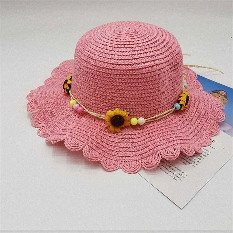 2020 2020 del bambino del cappello di Sun di estate di protezione cappello del fiore paglia per i bambini di Sun per la neonata Boy Beach Cap Block UV Panama Bone Da Orchidor, A6Zg #