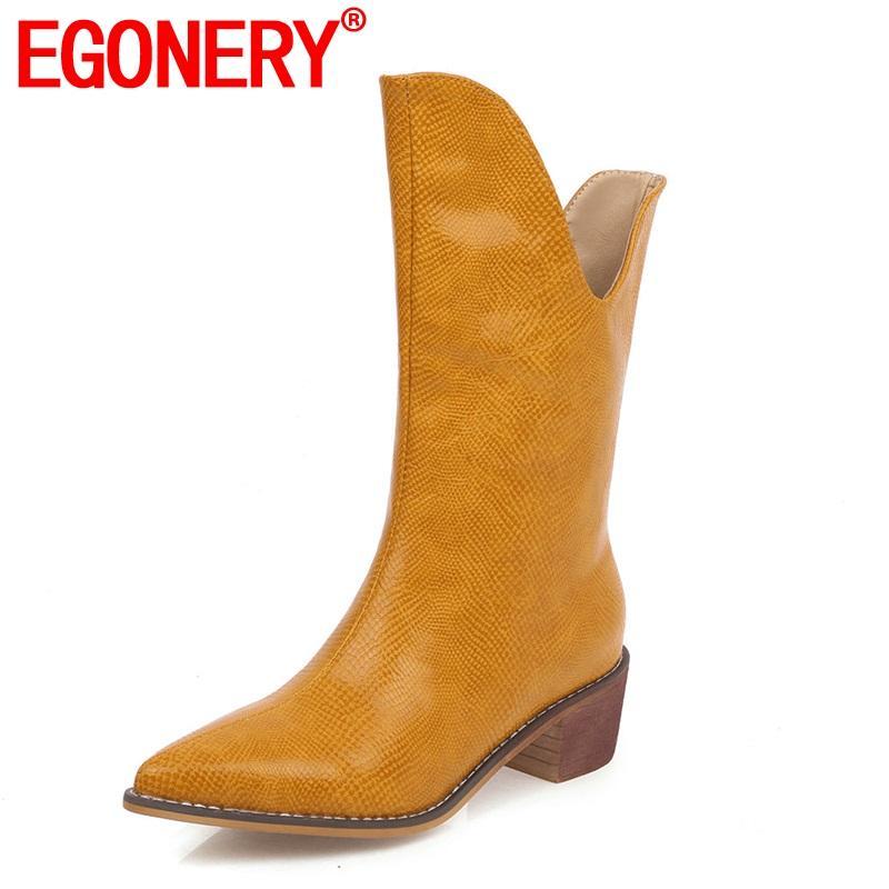 EGONERY legais botas metade da panturrilha cinza prata amarelo azuis brancos pontas do dedo do pé das mulheres sapatos 34-46 tamanho saltos 5cm outono botas ocidentais