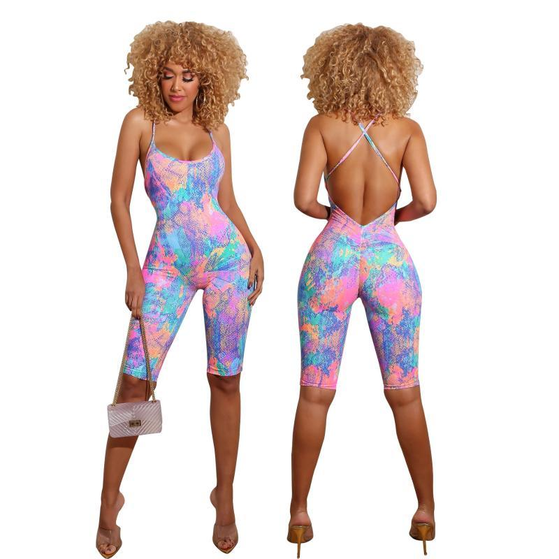 Summer Jumpsuits For Women 2020 Sexy Skinny Female Jumpsuits Tie-dye Print Casual Suspender Nice Free Shipping