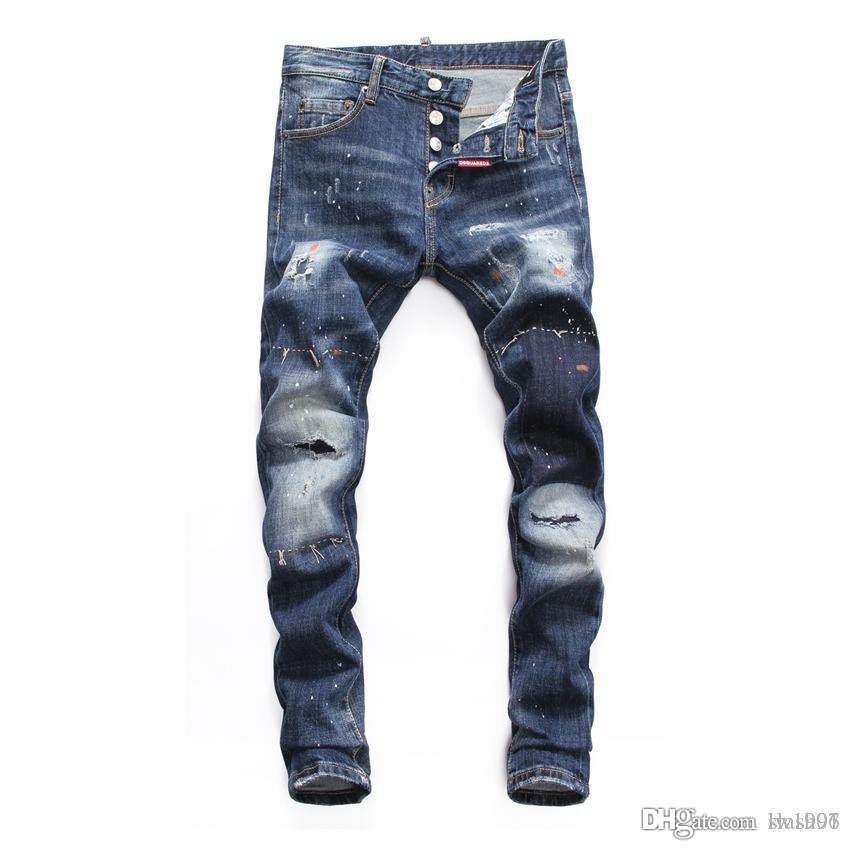 19 nouveaux jeans creux hommes de mode brodé jeans de la mode hip-hop de la mode os collants de jeans de haute qualité DN