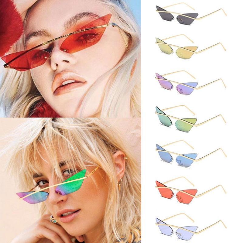2020 Retro Güneş Lady Kedi Göz Gözlük Renkli Deniz Kişilik Retro Güneş Womwen Şeffaf Renkli UV400 óculos