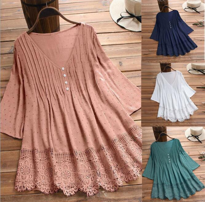 New Women Casual Básico Verão Lace Blusa Top Camisa oca V-neck Patchwork Plus Size M-5XL
