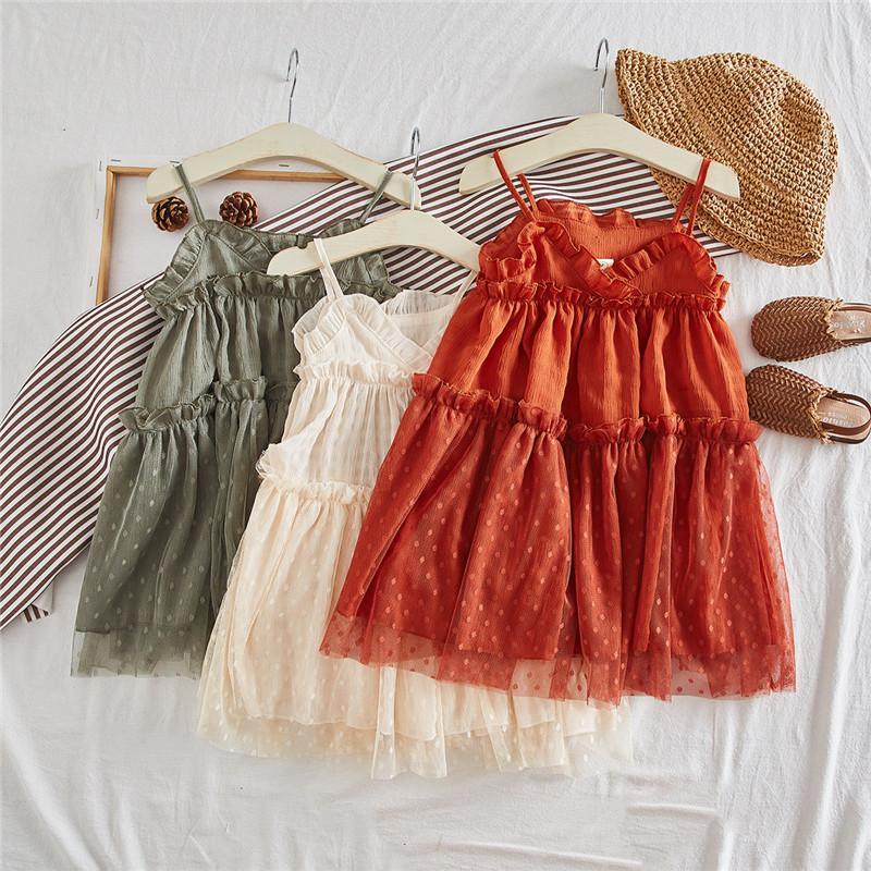 INS Girls dresses kids ruffle V-neck suspender dress children dew shoulder princess dress kids splicing polka dots lace tulle dress