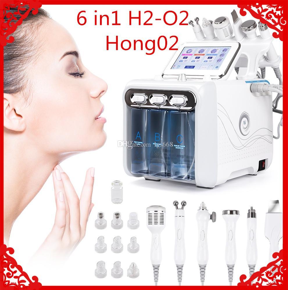 새로운 6in1 H2-O2 Hydra 스킨 하이드로 치료 스파 하이드로 테라피 얼굴 수학 치료 마이크로 그라인드 기계 냉각 망치 산소 스프레이 CE