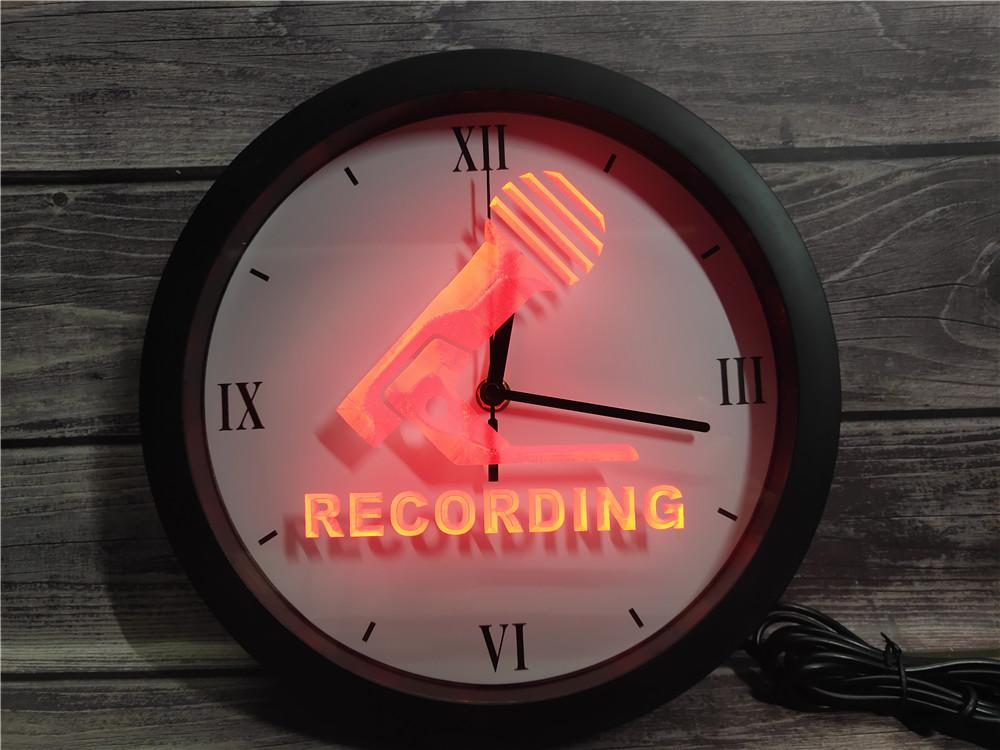 0B799 ميكروفون تسجيل في APP الهواء RGB LED ساعة الحائط ضوء النيون علامات
