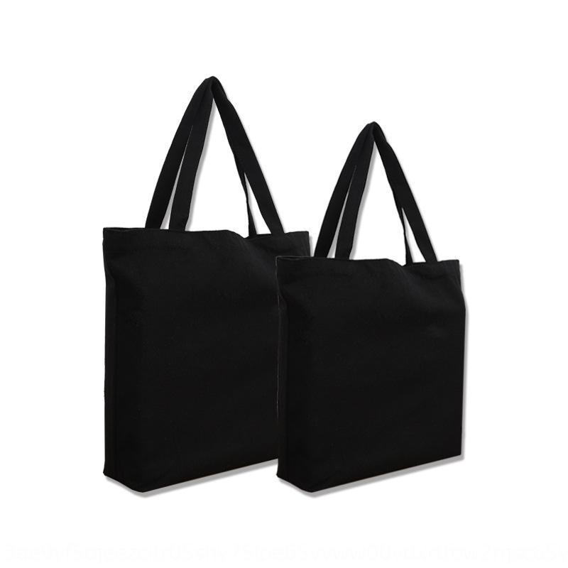 Impresso lona em branco tela portátil preto ombro único saco de algodão publicidade compras proteção ambiental dobrar saco