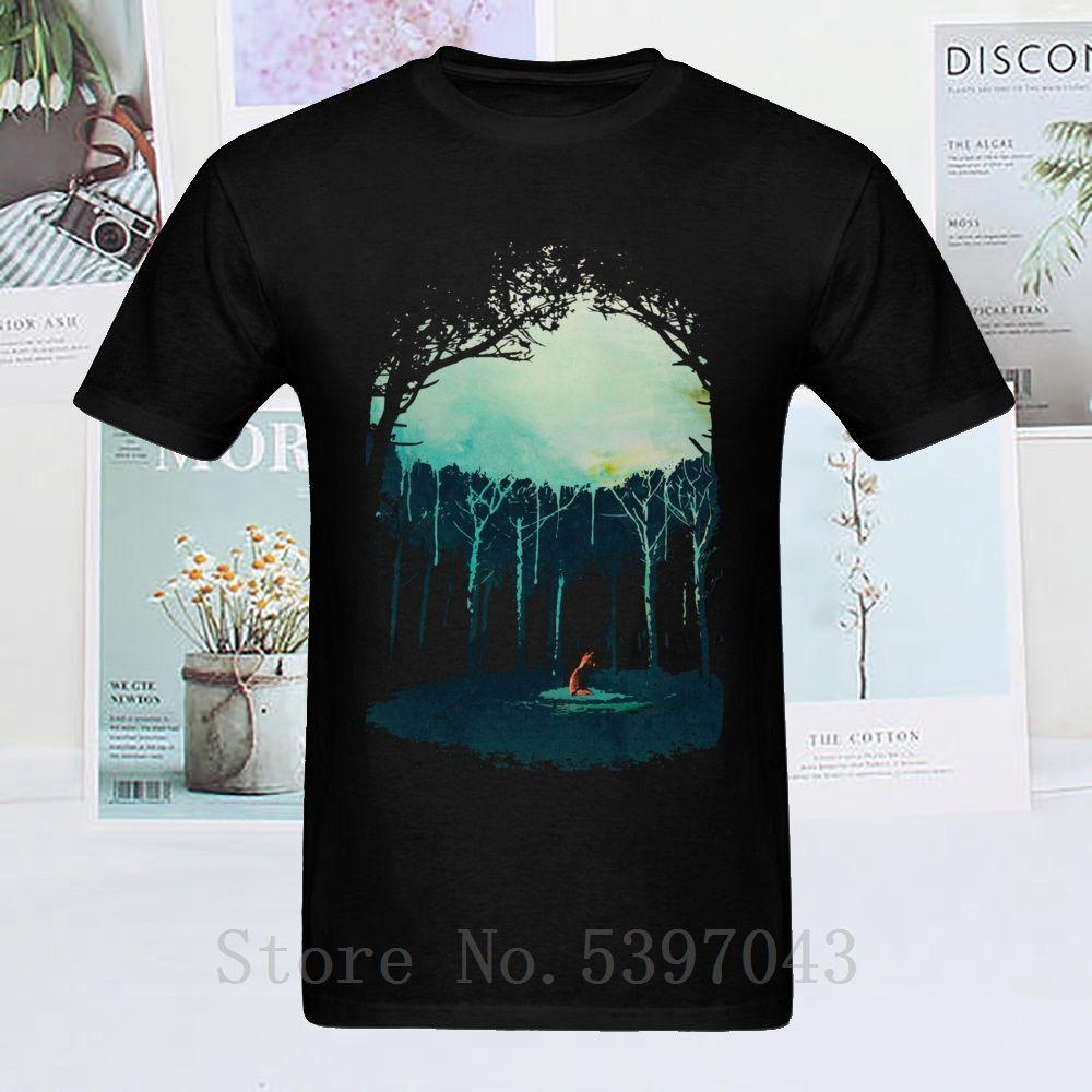 Red Wolf Deep In The Forest 2020 Акварели Art Tee черная рубашка хлопка мужская с коротким рукавом Личность Лучшие футболки