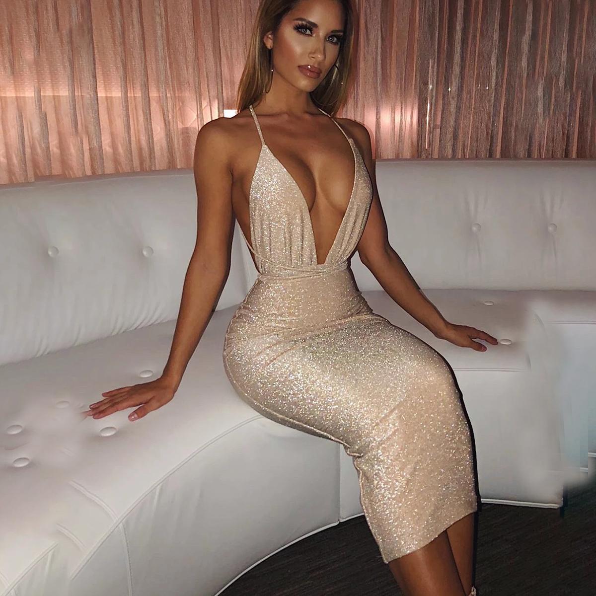 여자 드레스 골드 깊은 V 넥 스파게티 스트랩 미디 드레스 섹시한 클럽 솔리드 고삐 등이없는 붕대 높은 허리 Bodycon 연필 드레스
