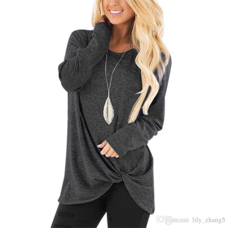 뜨거운 판매 여성 디자이너 의류 여성 캐주얼 솔리드 컬러 T 셔츠 트위스트 탑 셔츠 사이드 트위스트 불규칙한 느슨한 라운드 넥 긴 소매 탑