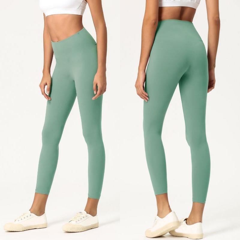 Couleur femmes solides pantalons de yoga de haute taille Vêtements de sport Gym Fitness Lady Leggings élastique ensemble complet Collants Workout