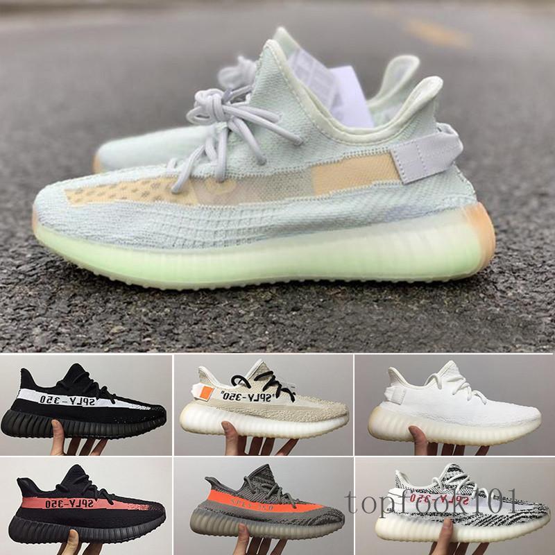(С коробкой) 2019 новых женщин кроссовки Статическая Черный Bred крем Белый Сезам Kanye West V2 Спортивные кроссовки EUR 36-46 TPM9