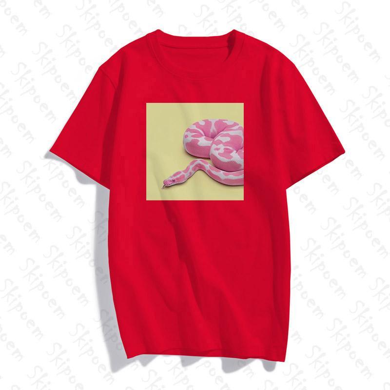 Serpent coloré T-shirt femmes Kawaii coréenne style décontracté Harajuku rose manches courtes en coton coloré Skipoem été Hauts Vêtements
