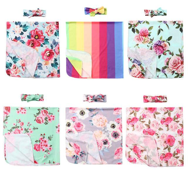 6 Styles Infant Baby INS Swaddle Boys Girls Floral Blanket + Headbands 2pcs/Set Newborn Soft Cotton Sleep Sack Toddler Sleeping Bags M2453