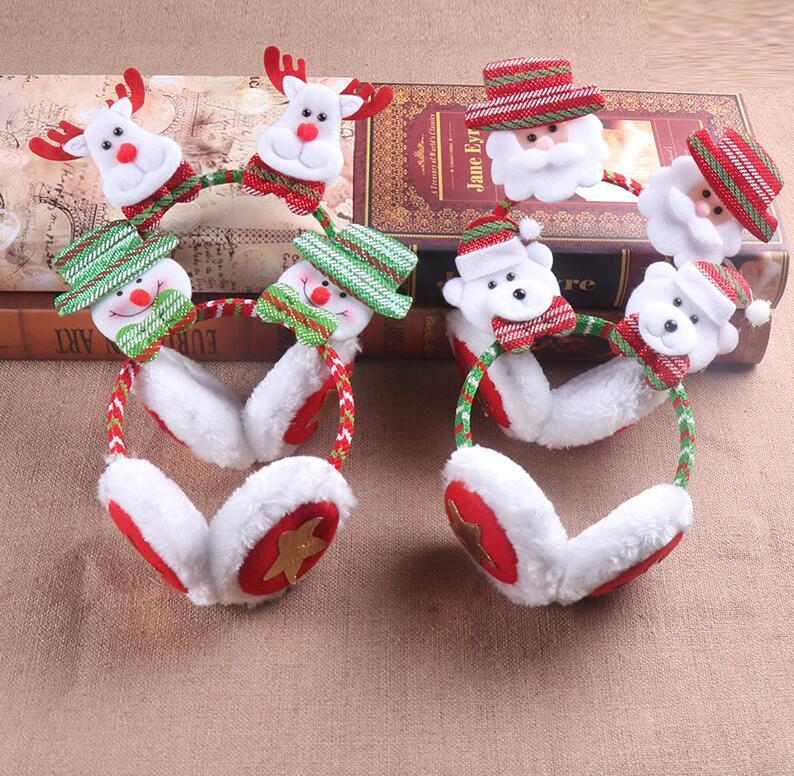 Рождество Симпатичного Earmuffs зима уха Keep Warm Cotton Ear Muffs 3D Сант снеговик Reindeer Printed Праздник партия Галстуки Шляпа WY195Q