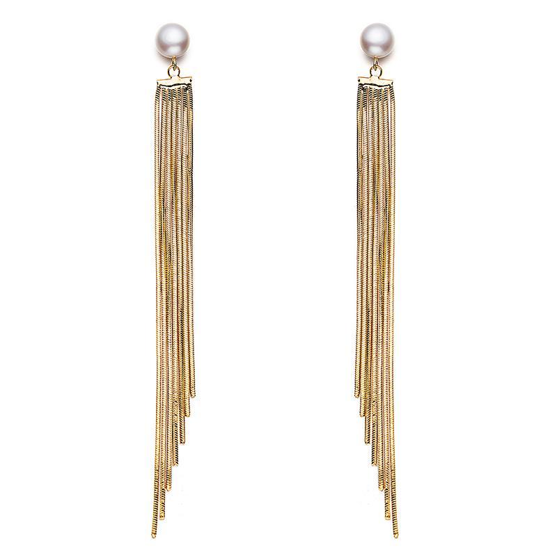 Perle longue goutte boucles d'oreilles gouttes de perles naturelles perles boucle d'oreille vente chaude pendaison boucle d'oreille suspendue pour femmes