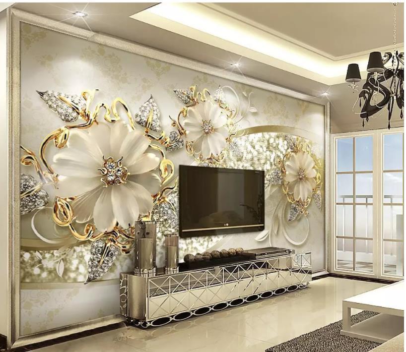 классическая картина обои Роскошные золотые 3d стерео европейский шаблон ювелирные изделия ТВ фоне стены