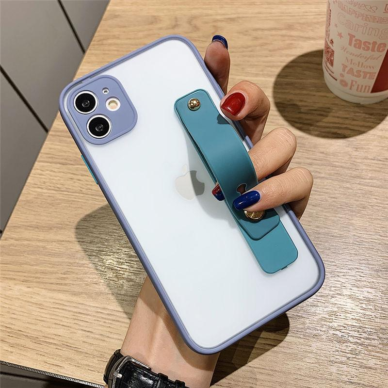 Candy Color Shockproof Phone Case For iPhone 12 Mini 11 Pro Max XR XS Max X 6 6S 7 8 Plus SE 2020 Wrist Strap Camera Protection Back Cover